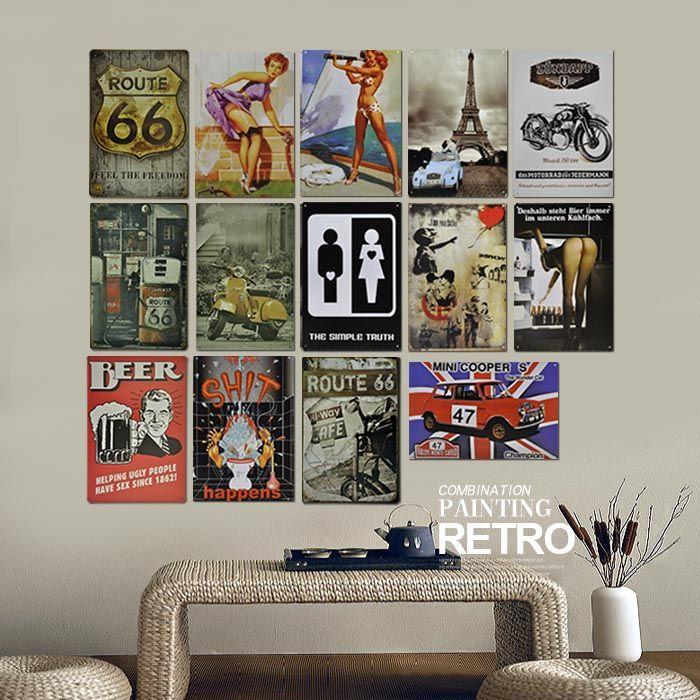 Retro vintage mural acabado de chapa de hierro del cartel - Laminas decorativas vintage ...