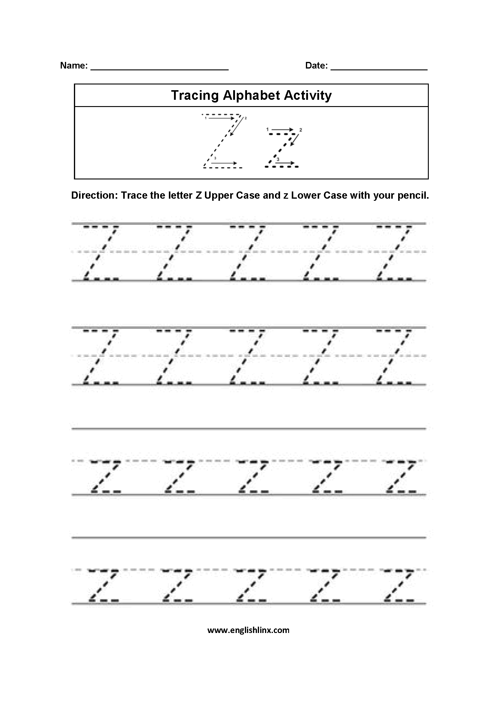 Letter Z Tracing Alphabet Worksheets