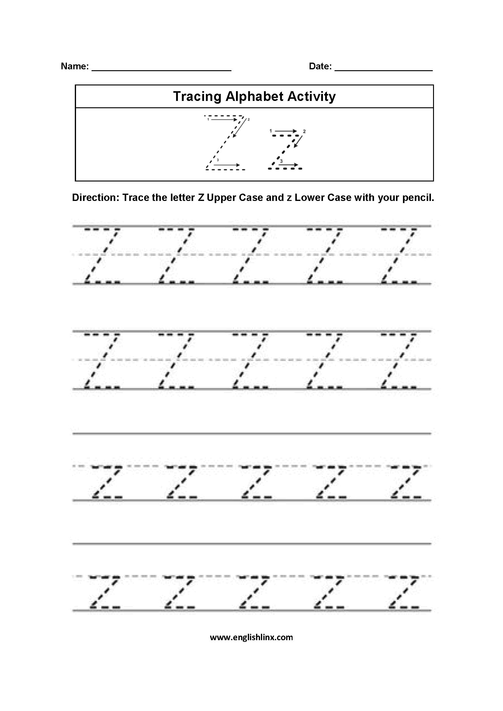 Letter Z Tracing Alphabet Worksheets Alphabet worksheets