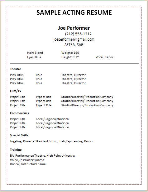 Resume Format Actor Acting Resume Acting Resume Template Job Resume Examples