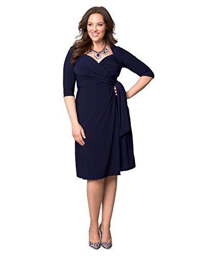 Plus Size Navy Blue Three Quarter Sleeved Whimsy Wrap Dress