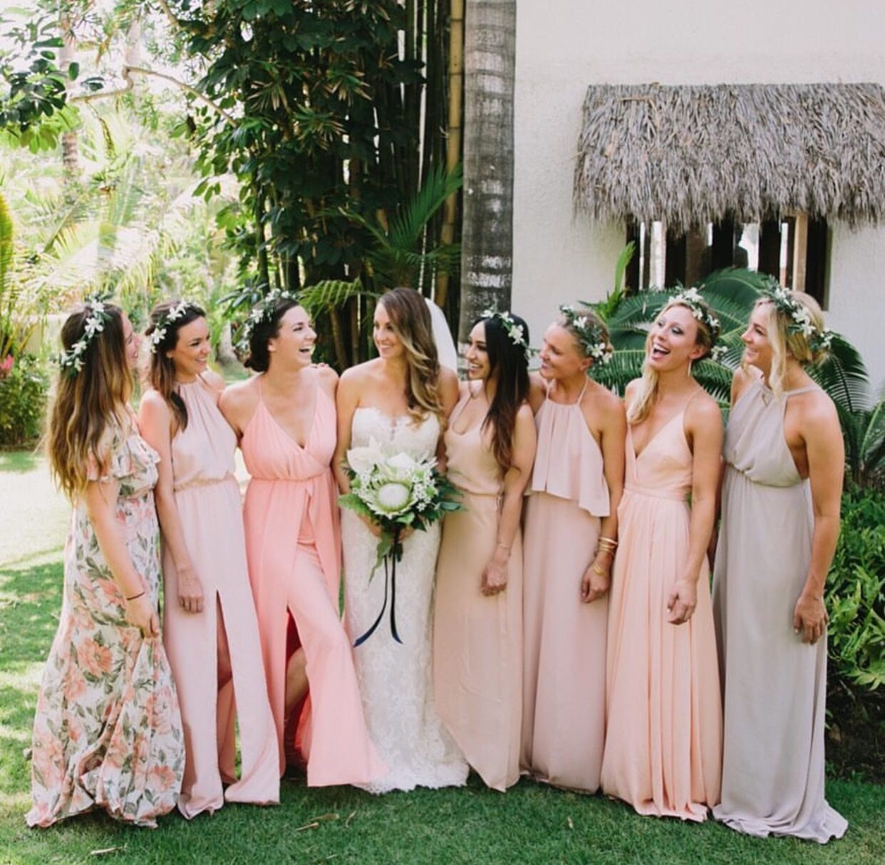 Boho beach bridesmaids via gws mumu weddings dream wedding