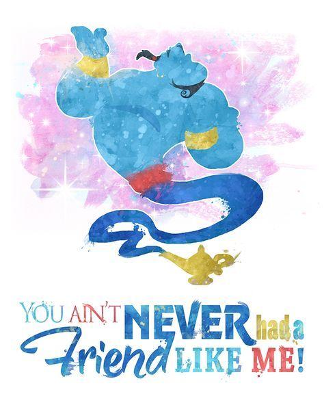 ART PRINT Aladdin Quote Genie Decor Gift Wall Art Disney B /& W Magic Lamp