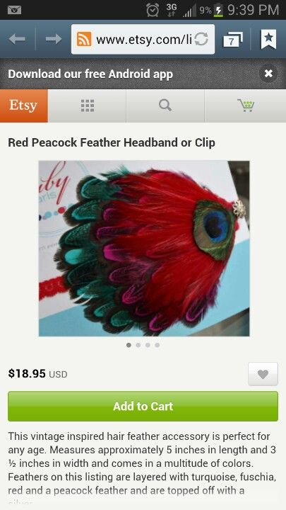 Red and peacock I love this Feather headband, Feather