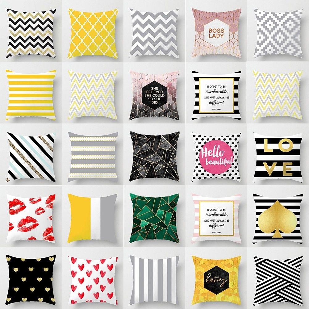 Funny vintage words cotton linen pillow case sofa throw cushion