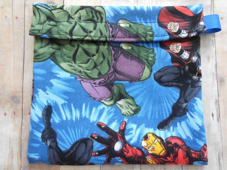 Marvel Hulk Iron Man Super Heros Reusable Sandwich Bag By