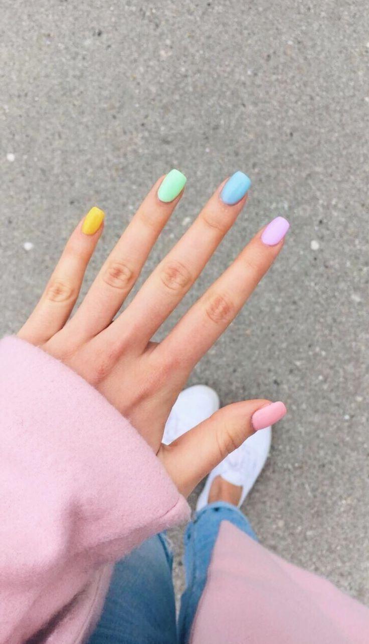 Acrylicnails Acrylicnailscoffin Acrylicnailsshort Acrylicnailsalmond Acrylicnailsforsummer Nails Naila Rainbow Nails Short Acrylic Nails Color For Nails