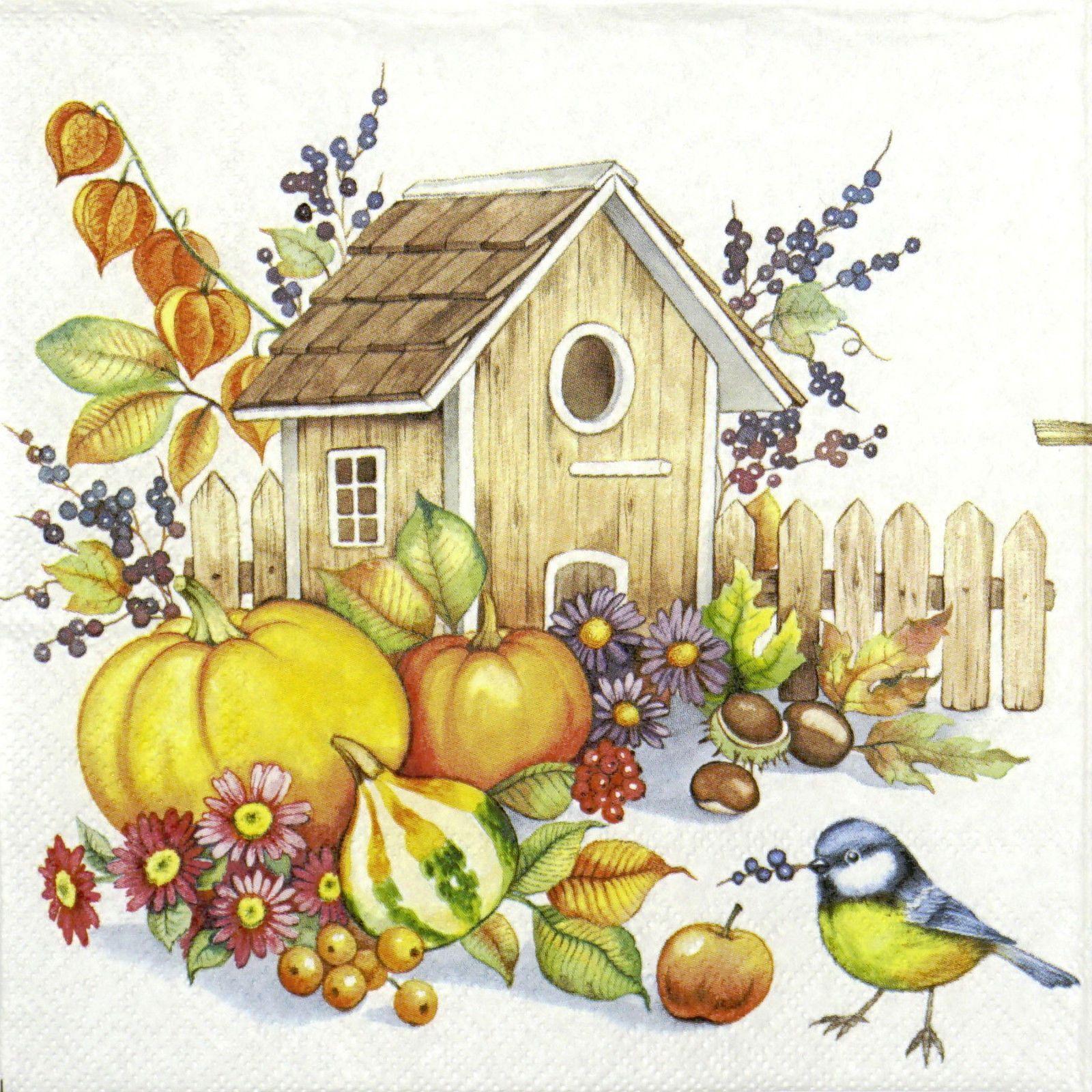 4x Paper Napkins for Decoupage Autumn Birdhouse