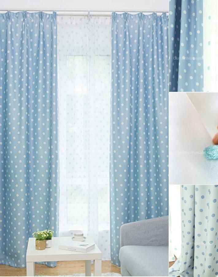 Blue And White Nursery Curtains Feature With Polka Dots In