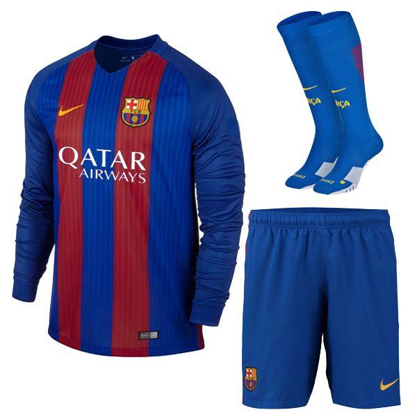 Football Shirt Barcelona Home Long Sleeve Cheap Soccer Kit (Shirt+Shorts +Socks)