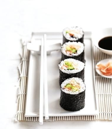 Sushi with Salmon, Avocado and Cucumber