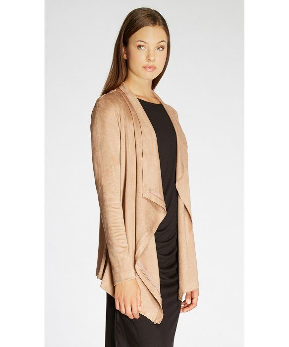 Bobeau Waterfall Faux Suede Jacket in Beige (blush) | Lyst