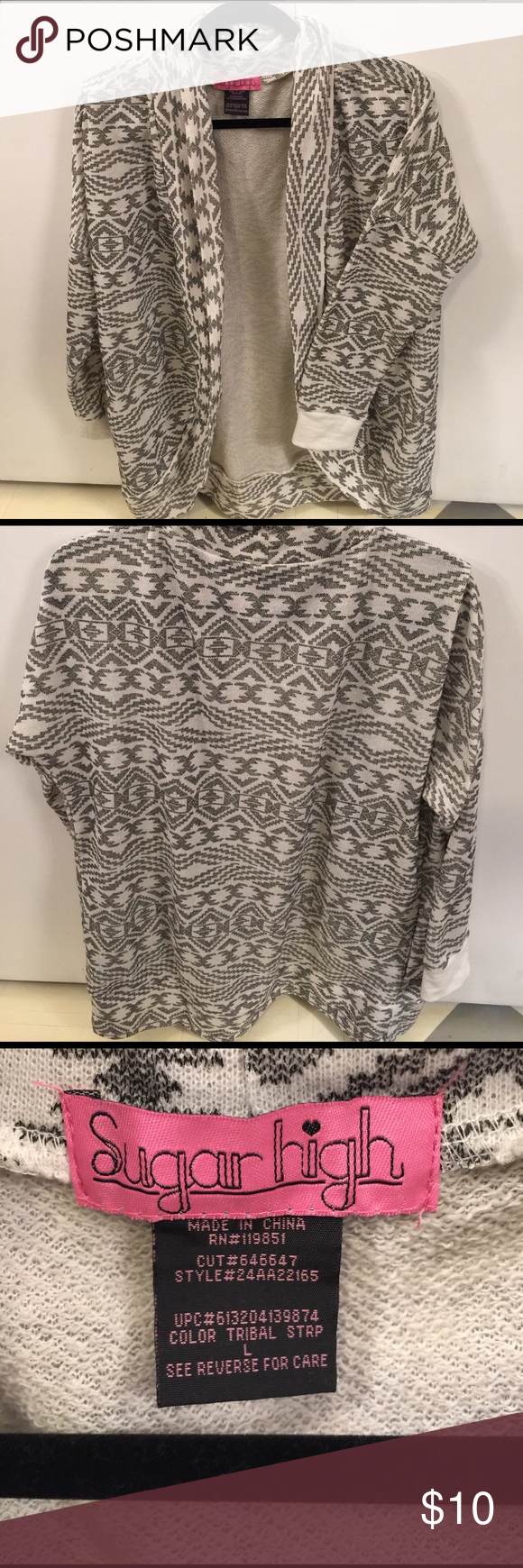 Aztec cardigan Sugar High gray/white aztec print cardigan. Never been worn. Just too small on me. Really cute with jeans/leggings. Sugar High Sweaters Cardigans