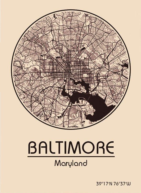 Karte Map Baltimore Maryland Vereinigte Staaten Von Amerika United States Of America U Vereinigte Staaten Von Amerika Vereinigte Staaten Nordamerika