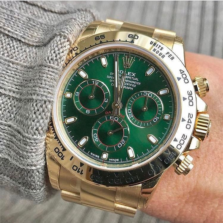 Rolex Daytona Yellow Gold With Green Dial Luxurywatches
