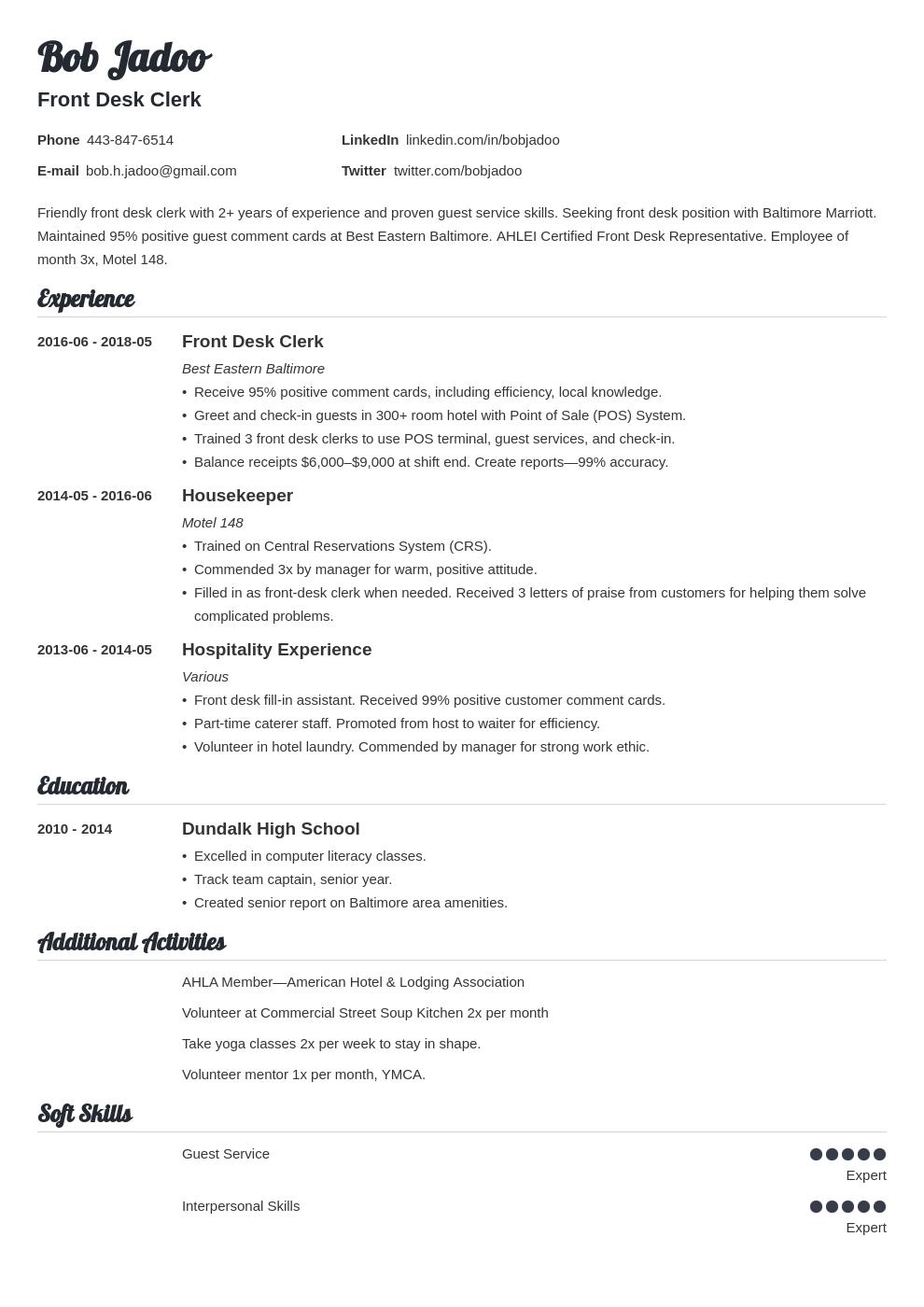 hospitality resume example template valera in 2020