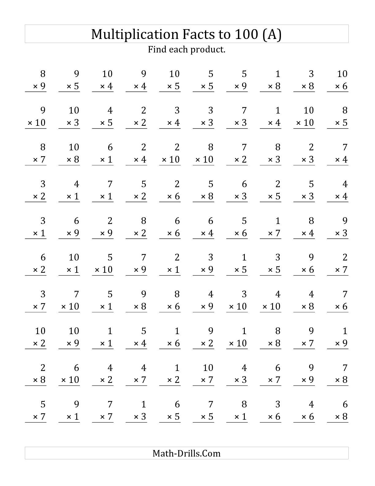 The Multiplication Facts to 100 No Zeros (A) math worksheet from the ...