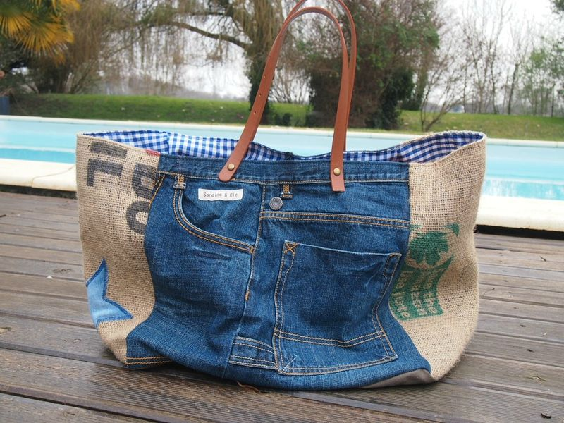 sac jean toile de jute sardine cie sacs pinterest sac jean jute et jeans. Black Bedroom Furniture Sets. Home Design Ideas