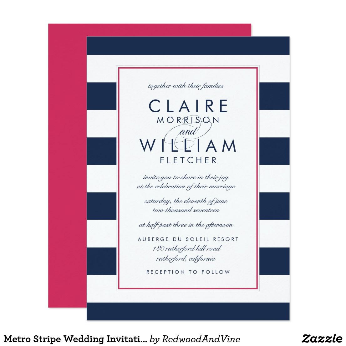 Metro Stripe Wedding Invitation   Pink and Navy   { Wedding ...