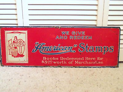 Vintage 30s AMERICAN COUPONS SIGN GAS STATION GROCERY POSTAGE ...