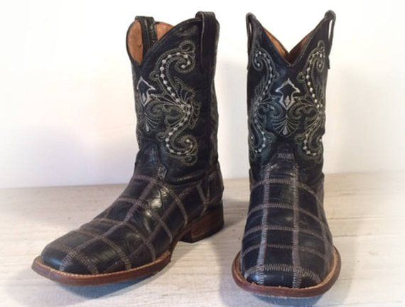 642d616ed75 Cowboy Boots, Ferrini Black Patchwork All Leather Shorties with ...