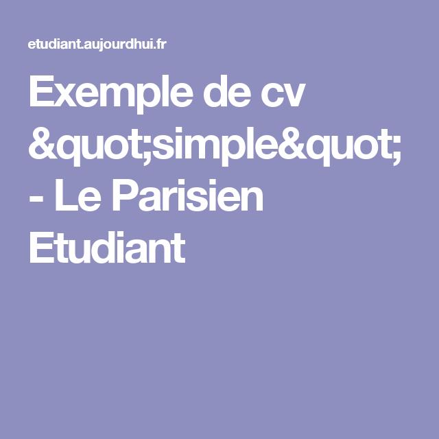 exemple de cv le parisien Exemple de cv
