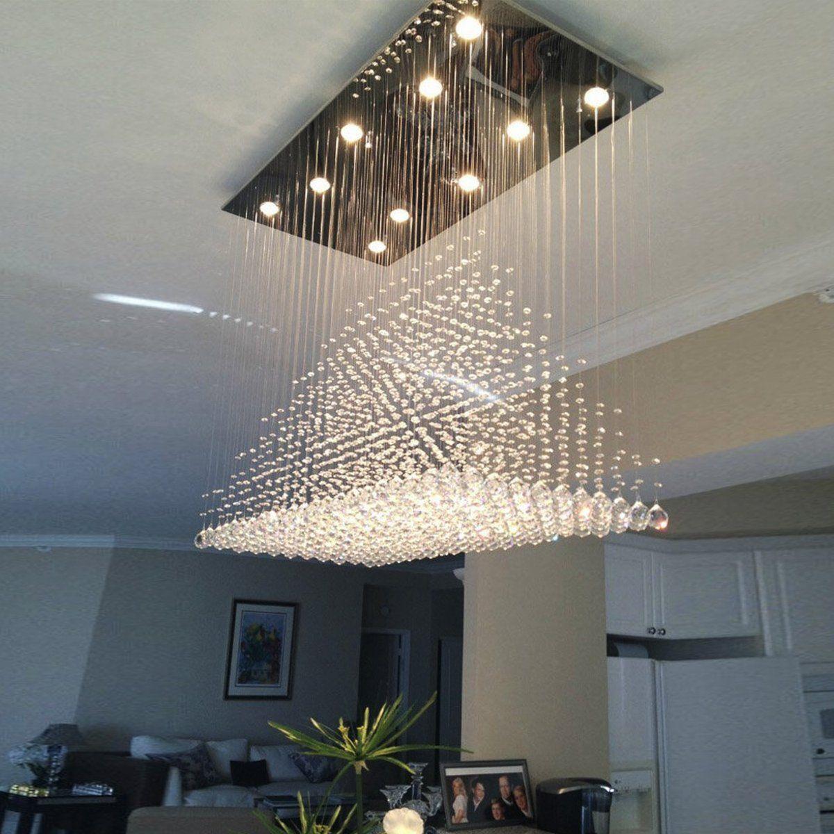 Rectangular Base Pyramid Raindrop Crystal Ceiling Lights Modern Lighting Chandeliers Crystal Ceiling Light Dining Room Lighting