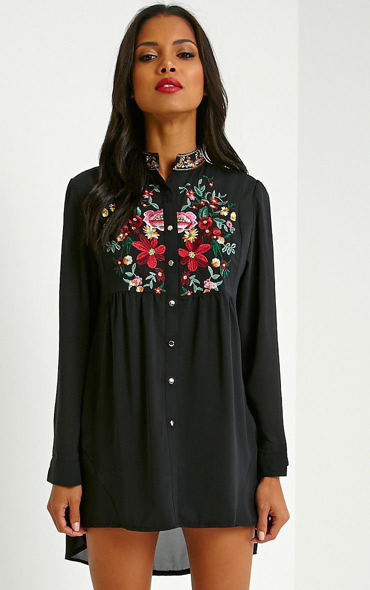 Embroidered shirt - PrettyLittleThings  https://ie.prettylittlething.com/exie-