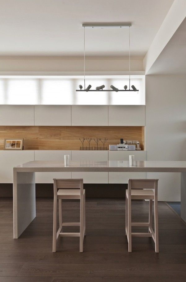 Contemporary kitchen design glossy white cabinet taiwanese interior design