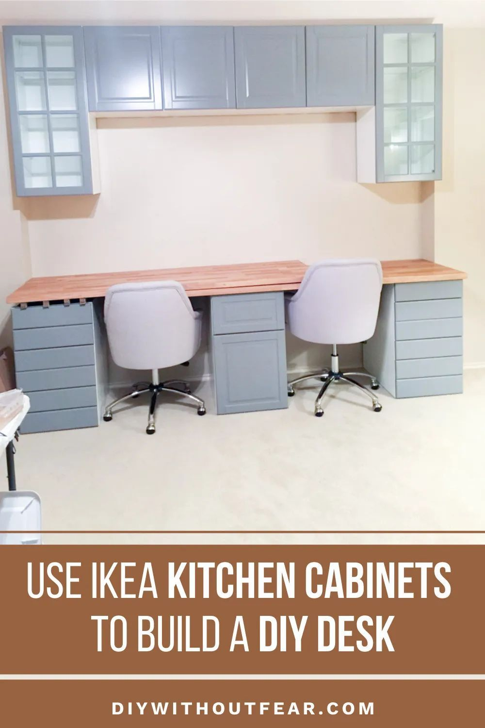 How To Make A Desk From Kitchen Cabinets Part One Diy Without Fear In 2020 Ikea Kitchen Cabinets Ikea Kitchen Kitchen Cabinets Parts