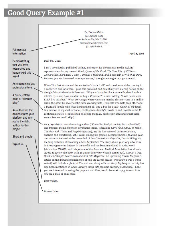 Sample query letter for novel submission.