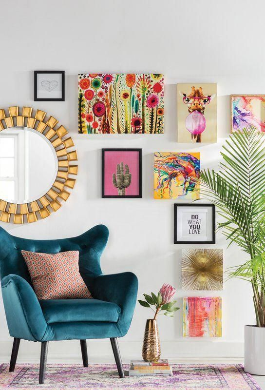 'Radiant Gold' Graphic Art on Wrapped Canvas & Reviews | AllModern #livingroomdesigns #retrohomedecor