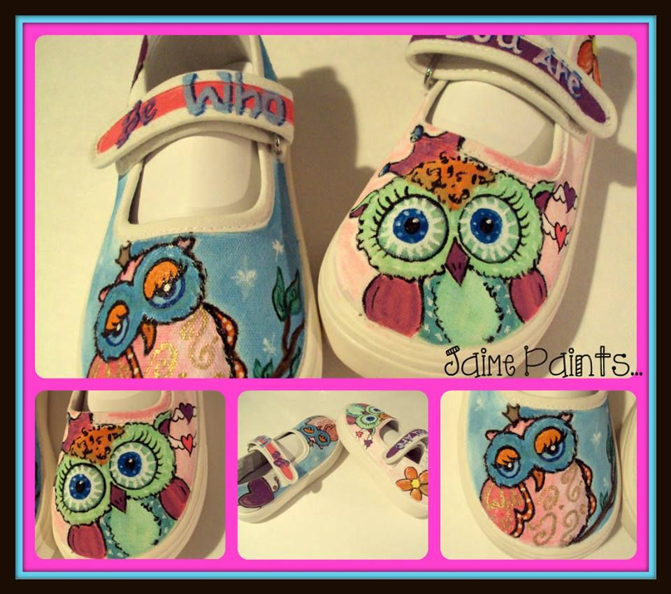 OWLS hand painted kids owl shoes be WHO you are RTS size 9 toddler $50