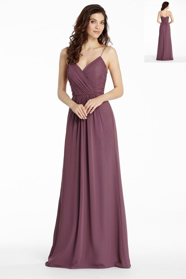 Strap V Neck Pleated Bodice Long Chiffon Bridesmaid Dress