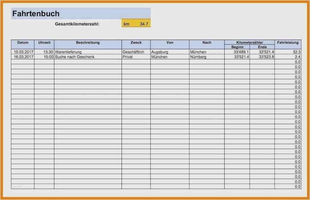 Fahrtenbuch Vorlage Kostenloses Excel Muster Brixxbox