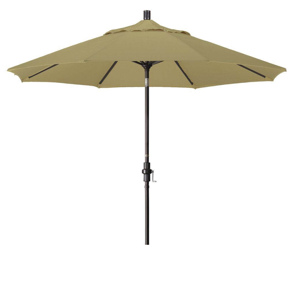 Eclipse Collection 9' Aluminum Market Umbrella Collar Tilt - Bronze/Sunbrella/Heather Beige