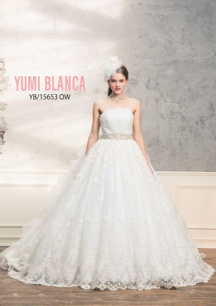 6e2609d39eb34 YB-15653 - 桂由美 ウエディングドレス - 繊細なビーディングレースの下キラキラにした柔らかい素材を合わせた爽やかなドレスです。  バックスタイルはリボンと立体的な ...