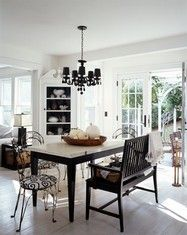 Black and white dining room, french doors