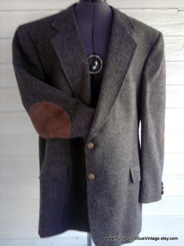 Tweed Suit Jacket with Elbow Patches