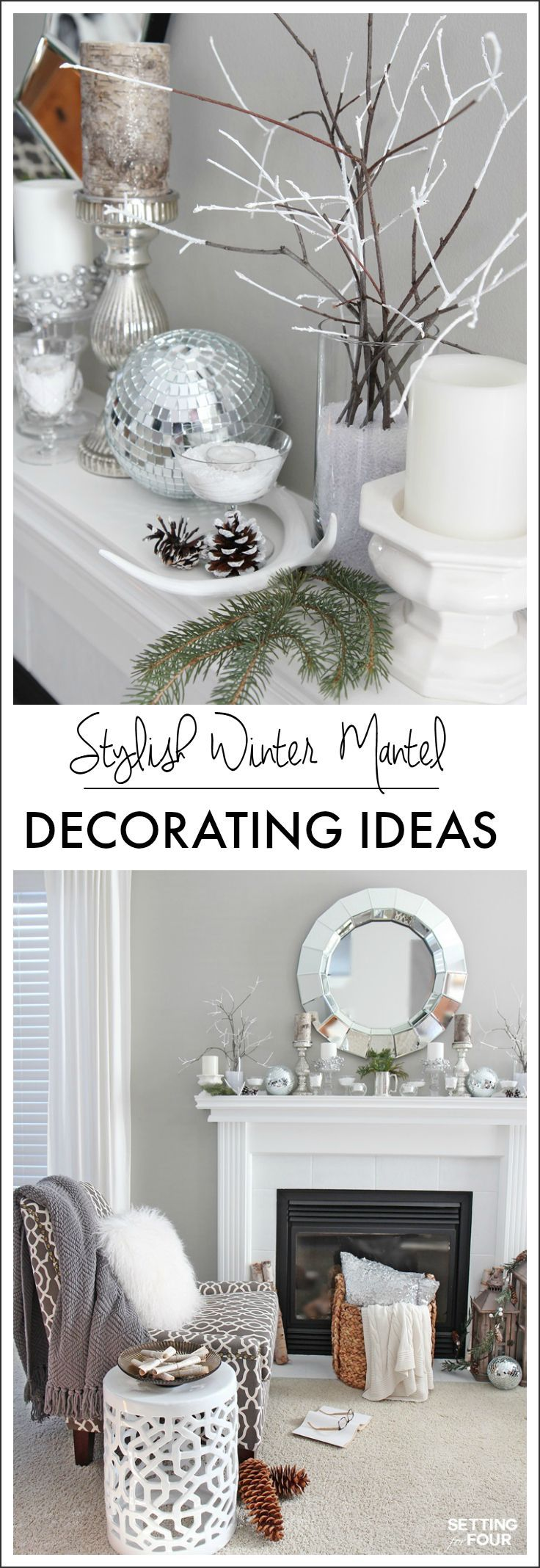 Winter Mantel Decorating Ideas - Setting for Four