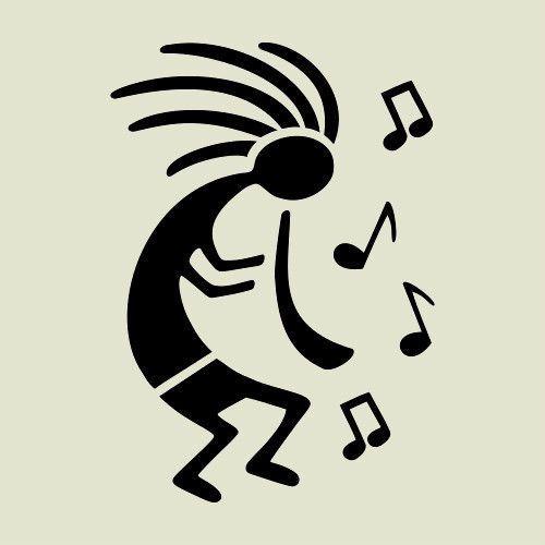 Kokopelli Western Stencil Flute Musical Notes Southwestern