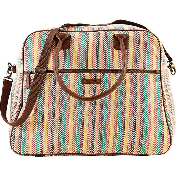 Bella Taylor Pacific Grove Weekender Satchel (71 CAD) ❤ liked on Polyvore featuring bags, handbags, fabric handbags, pink, purse satchel, overnight bag, weekender bag, satchel hand bags and pink satchel purse