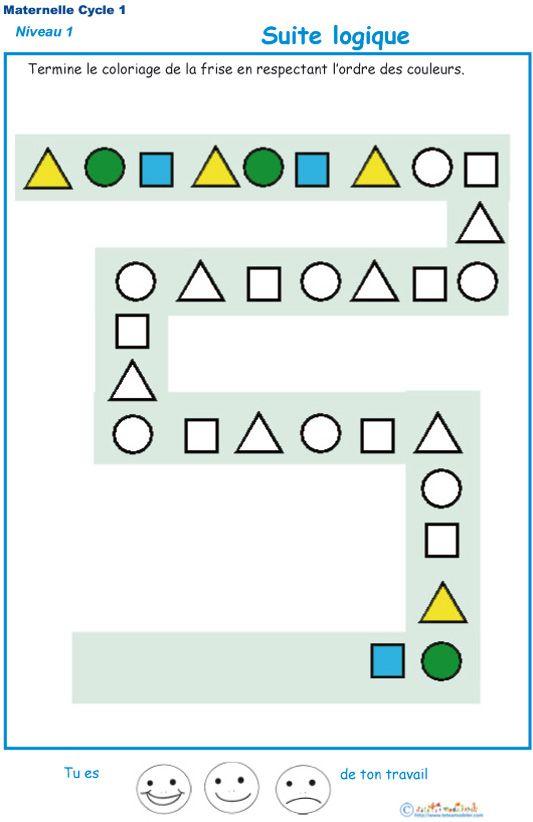 Imprimer L Exercice 2 Suite Logique Pour Les Enfants De Ps Maternelle Exercice Maternelle Fiches De Travail Pour Maternelles Exercice Petite Section