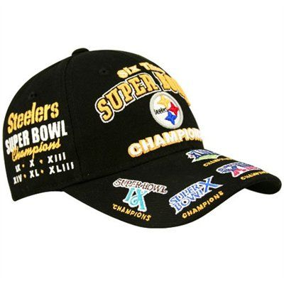 super popular d1007 aff3c Pittsburgh Steelers Black 6-Time Super Bowl Champions Adjustable Hat   UltimateTailgate  Fanatics
