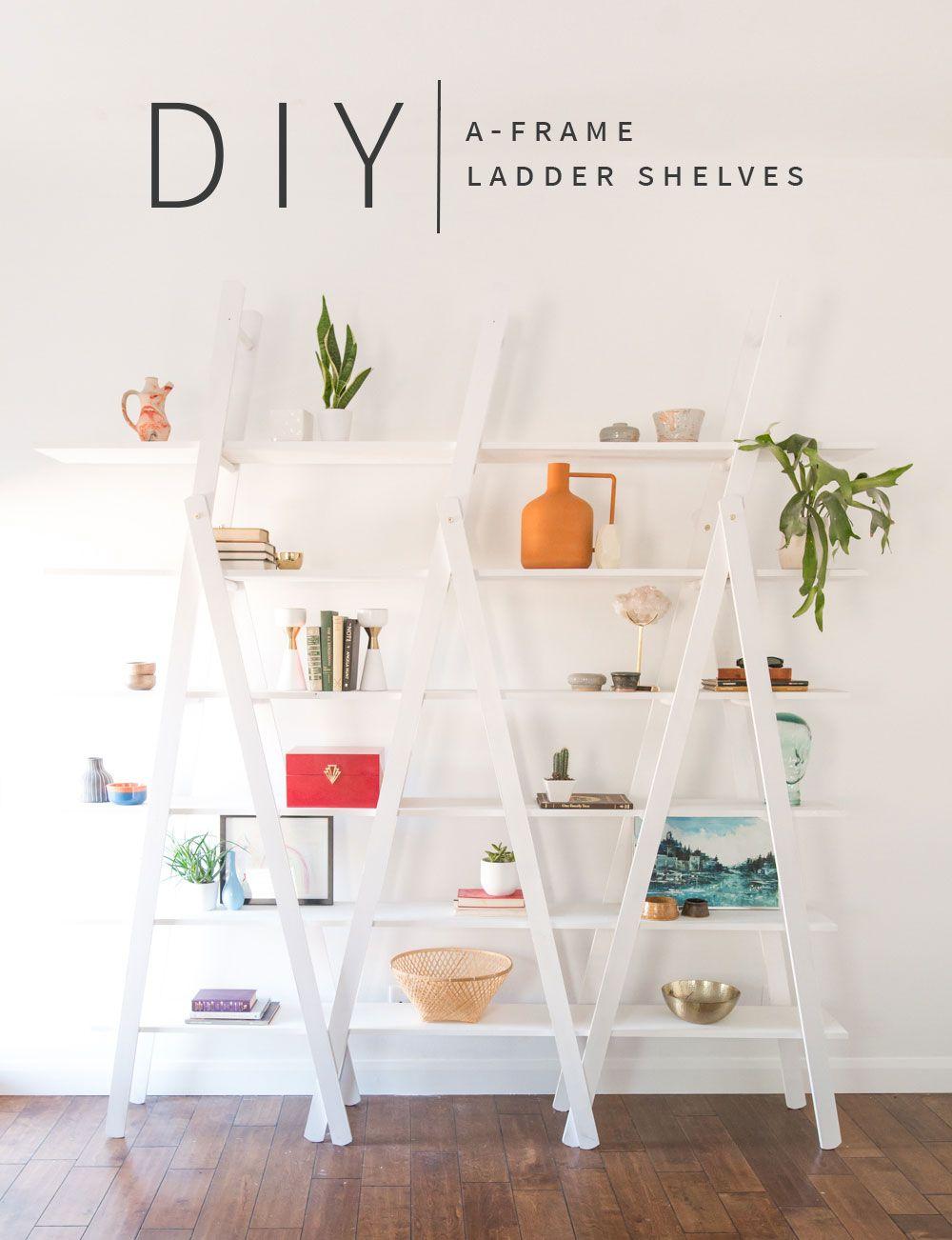 Diy aframe ladder shelves diy pinterest shelves shelving and