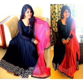 Cotton Silk Navy Blue Plain Semi Stitched Long Anarkali Suit - A25 ...