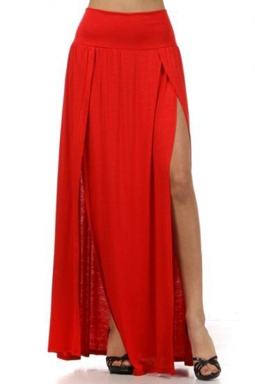 76bc13dade Plus size Double slit maxi skirt 72% Rayon 24% Polyester 4% Spandex Made in  U.S.A