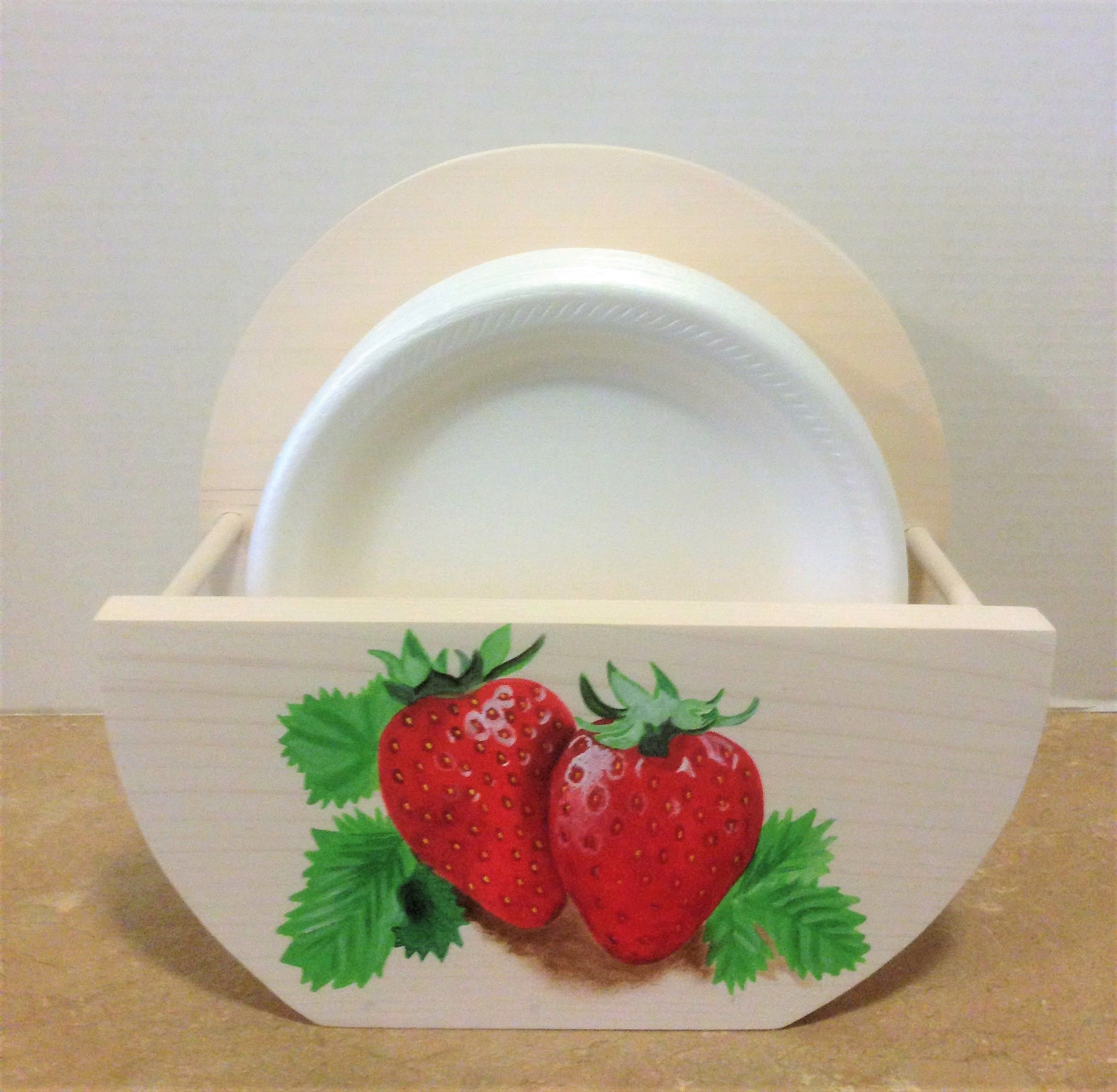 Paper Plate Holder Strawberry Decor Strawberry Kitchen Holder for plates Strawberries & Paper Plate Holder Strawberry Decor Strawberry Kitchen Holder for ...