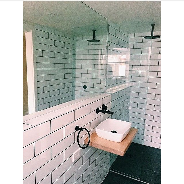 Wondrous White Subway Tiled Bathroom With Black Grout Timber Wall Download Free Architecture Designs Lukepmadebymaigaardcom