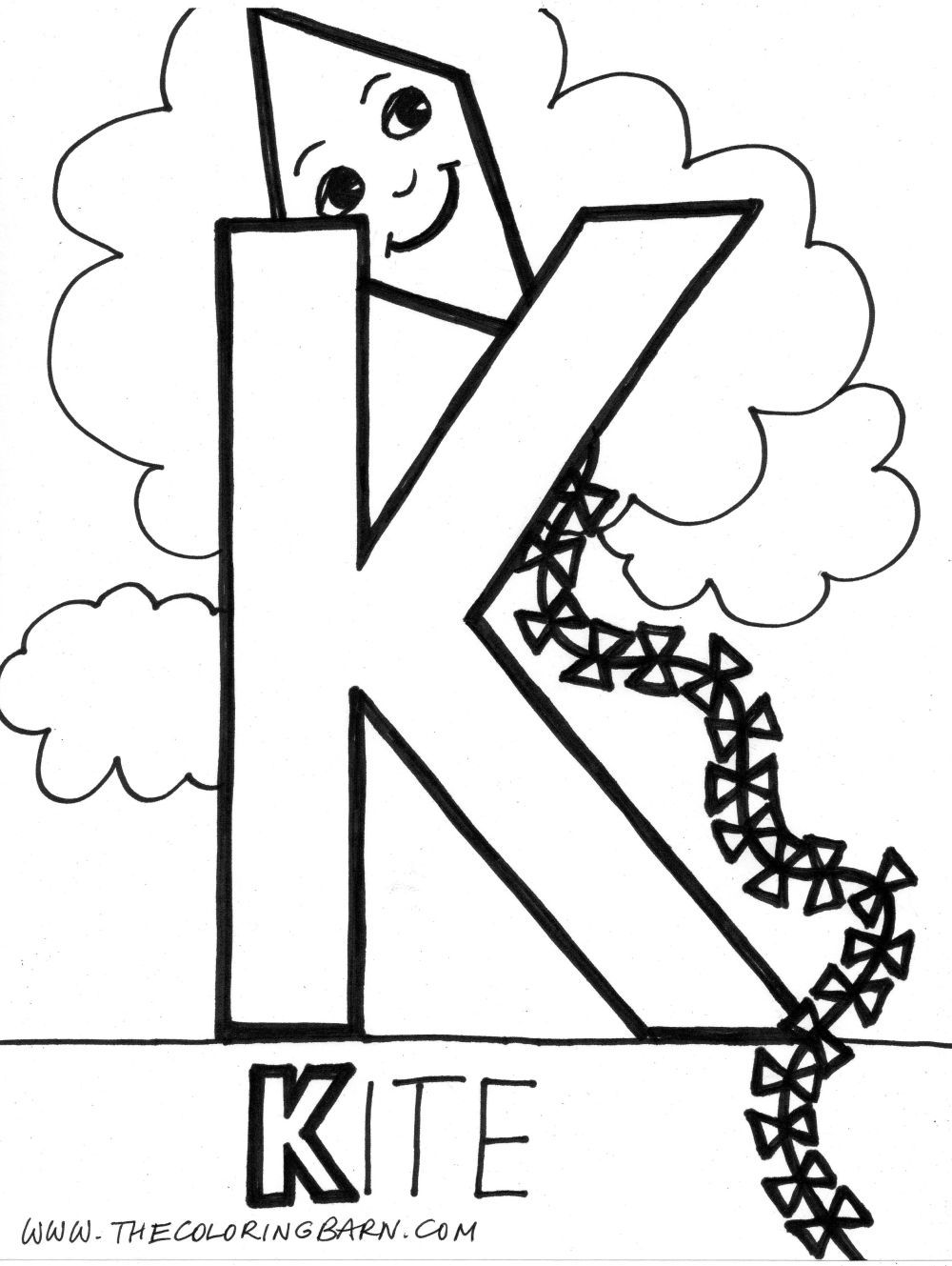 K for Kite Alphabet coloring pages, Alphabet coloring
